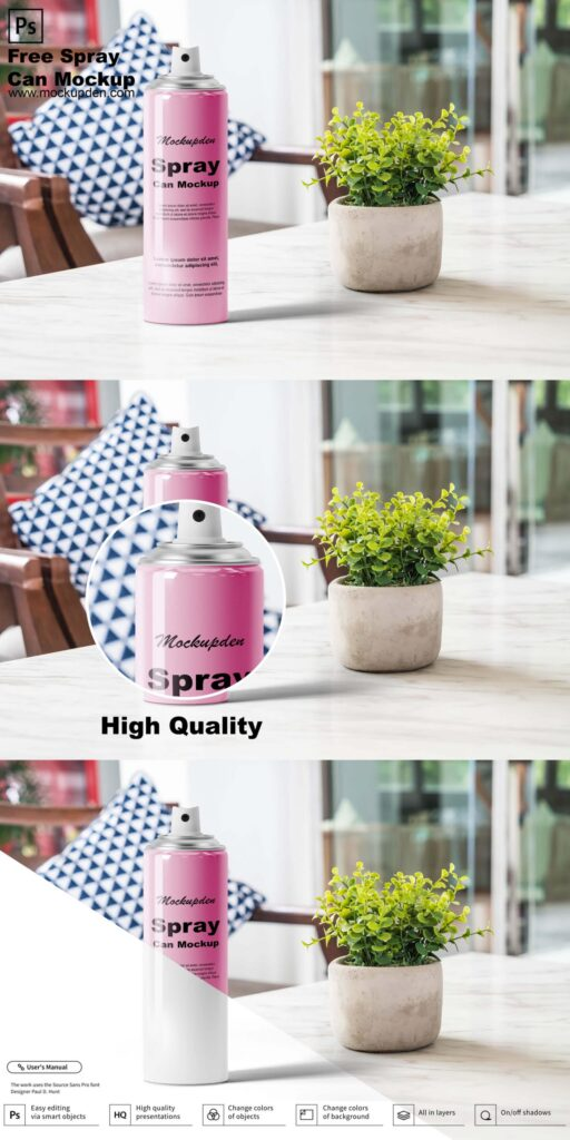Free Spray Can Mockup PSD Template