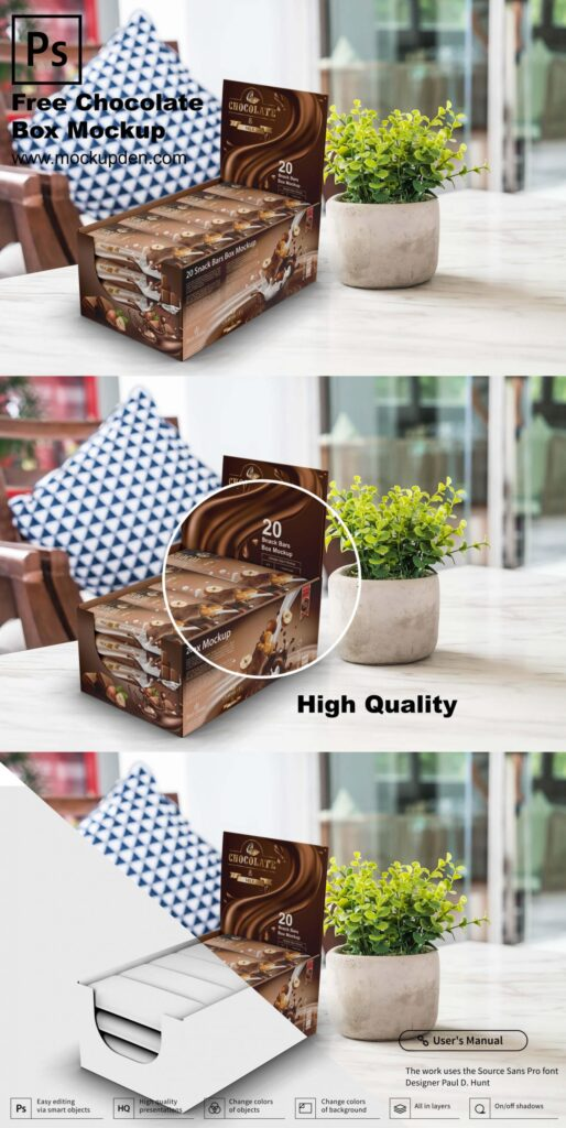 Free Chocolate Box Mockup PSD Template