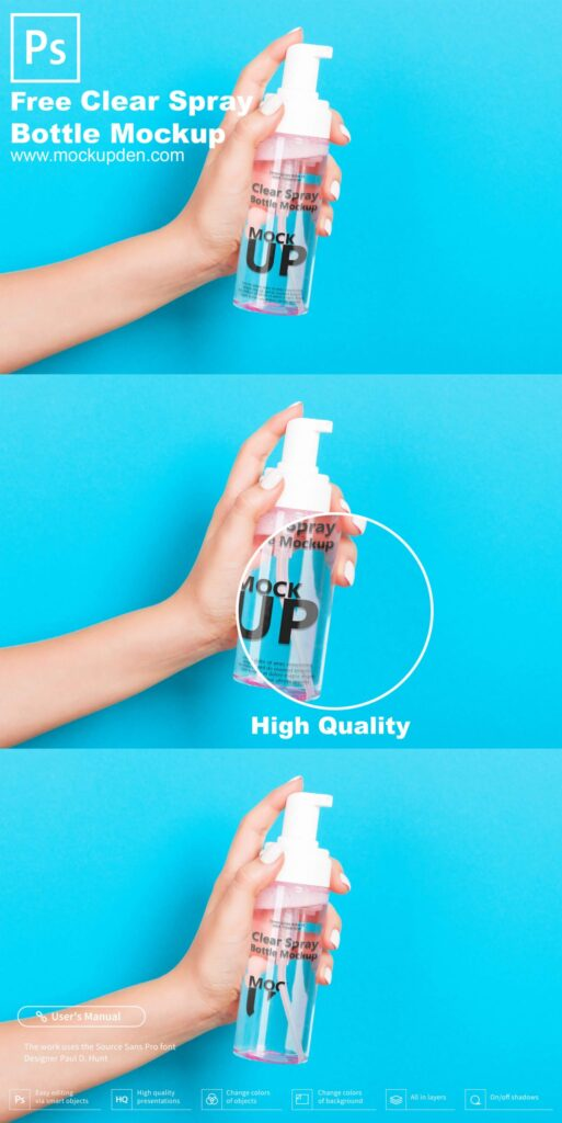 Free Clear Spray Bottle Mockup PSD Template