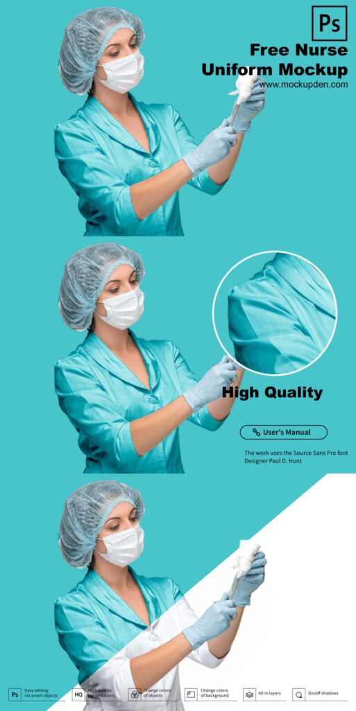 Free Nurse Uniform Mockup PSD Template