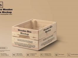 Free Wooden Box Mockup PSD Template