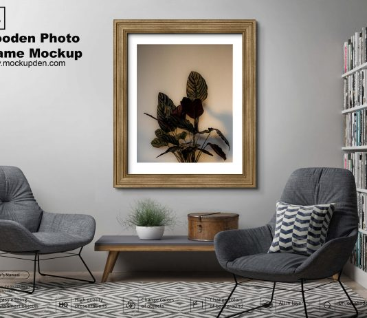Free Wooden Frame Mockup PSD Template