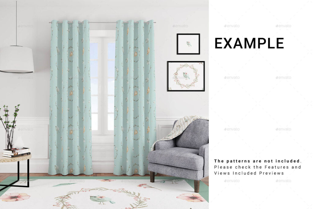 5 Types of Curtains, Rug & Blanket Set
