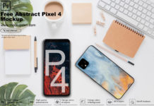 Free Abstract Pixel4 Mockup PSD Template
