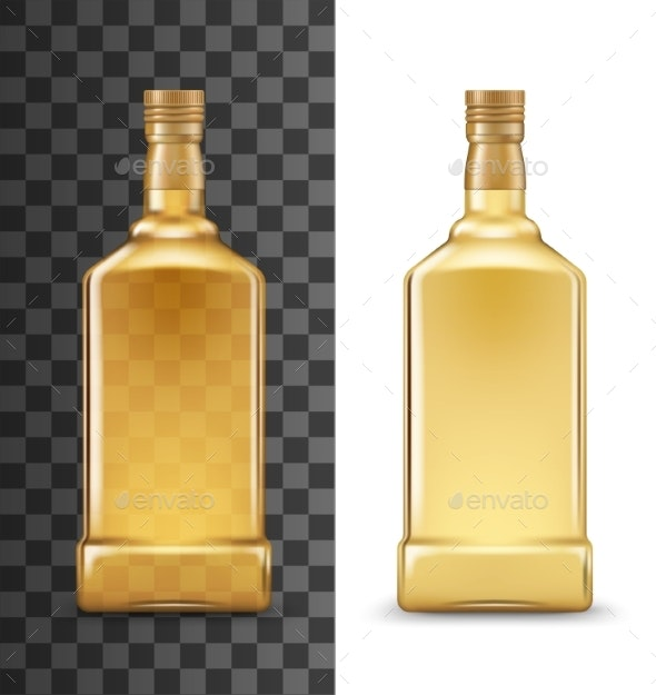 Alcohol Drink Bottle, Tequila or Whiskey Mockup