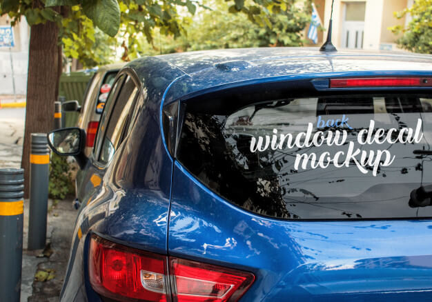 Angled template of the back window decal of a blue car Premium Psd