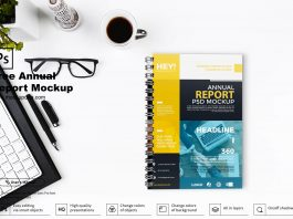 Free Annual Report Mockup PSD Template