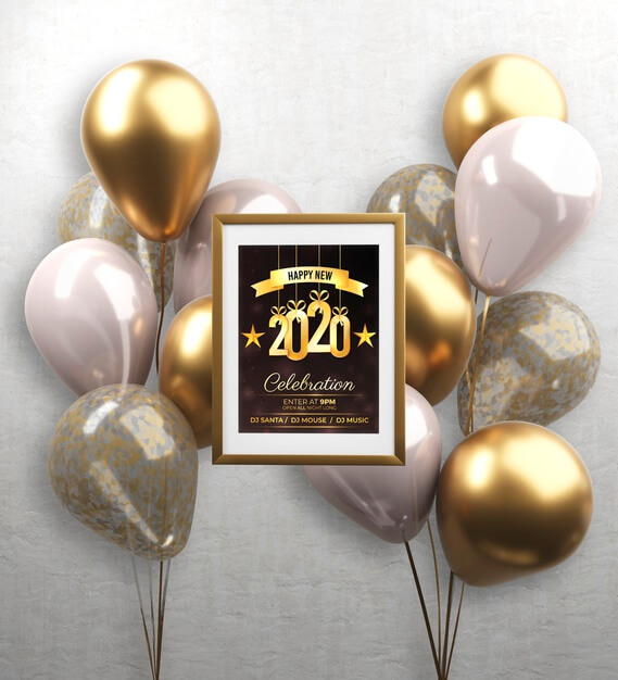 Balloons and frame with new year theme Free Psd