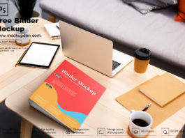 Free Binder Mockup on A Table PSD Template