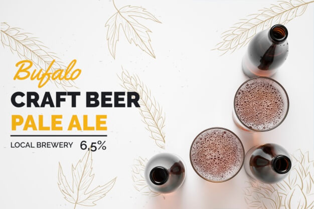 Bottles and glasses of craft beer Free Psd