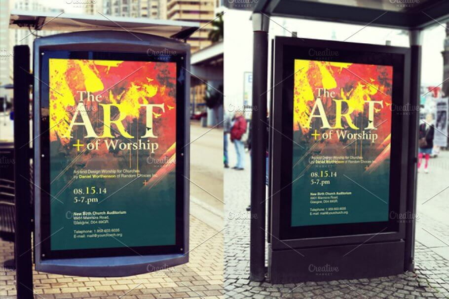 Bus Stop Poster Mockup Template