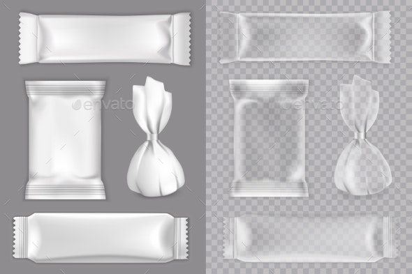 Candy Packaging Mockup Set Vector Isolated