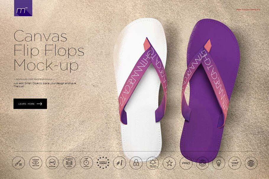 Canvas Flip Flops Mock-up