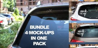 Car Rear Window. Mockups Bundle