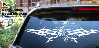 Free Car Window Decal Mockup PSD Template