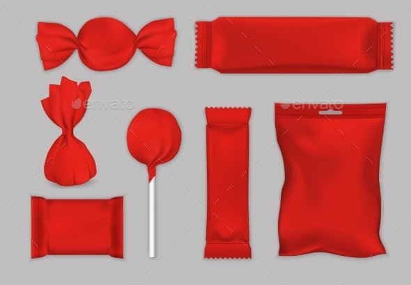 Chocolate and Candy Packaging Red Mockup Set