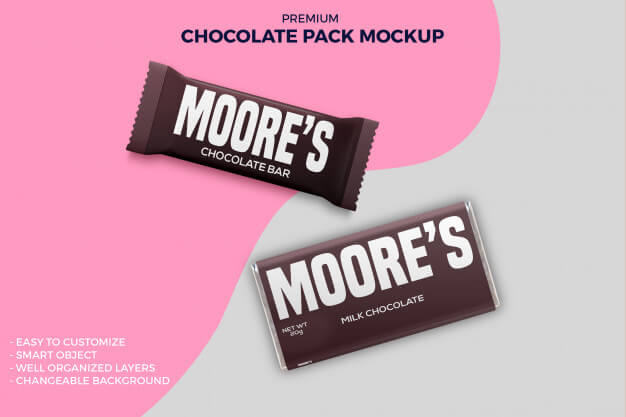 Chocolate bar foil & paper packaging mockup Premium Psd