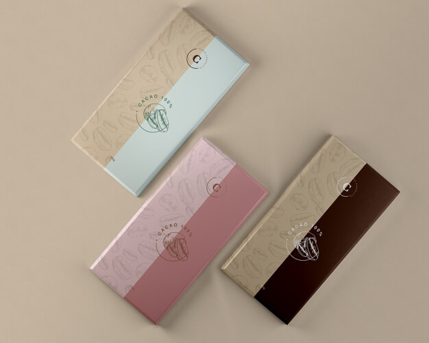 Chocolate tablets paper packaging mock-up Free Psd