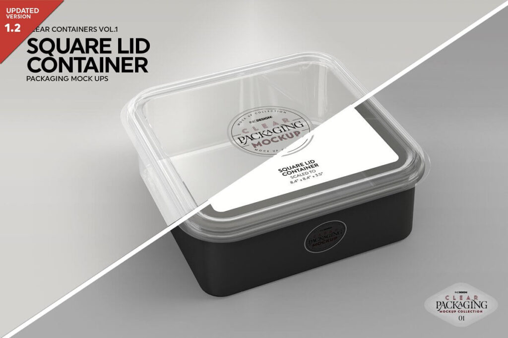 Clear Square Lid Container Mockup