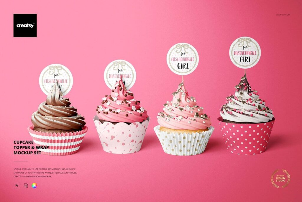Cupcake Toppers & Wraps Mockup Set