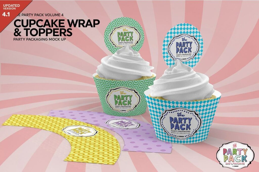 Cupcake Wrap and Topper Mockup