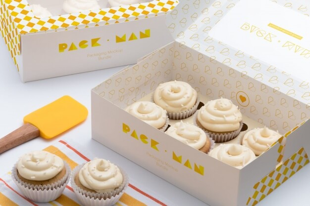 Cupcake boxes mock up design Premium Psd