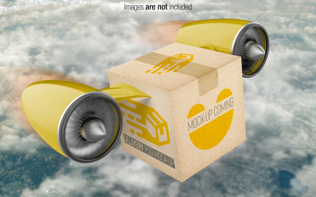 Delivery box psd mockup perspective view Premium Psd
