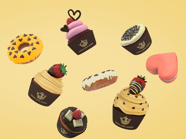 Floating cakes and cupcakes Free Psd