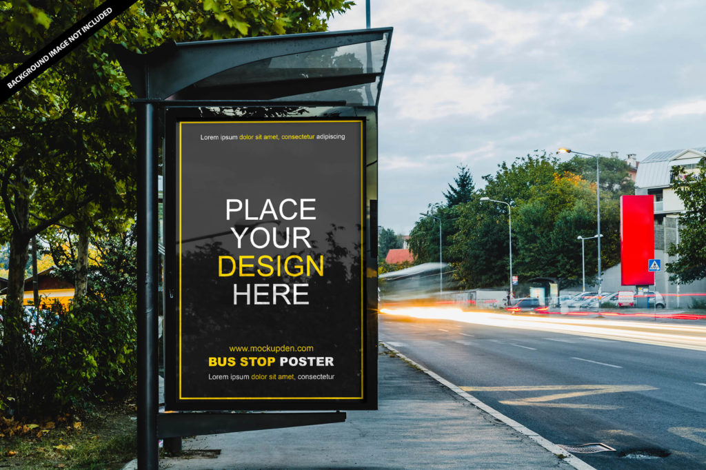 Free Bus Stop Poster Mockup PSD Template