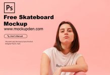 Free Skateboard Mockup PSD Template