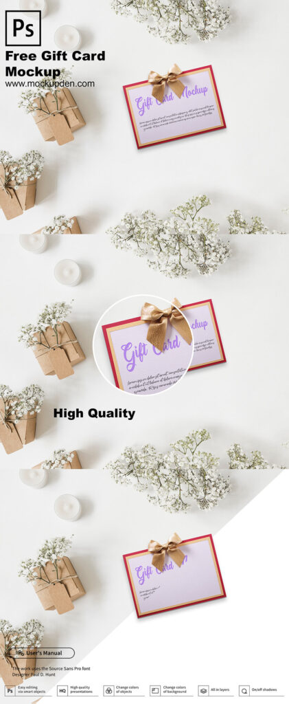 Free Gift Card Mockup PSD Template