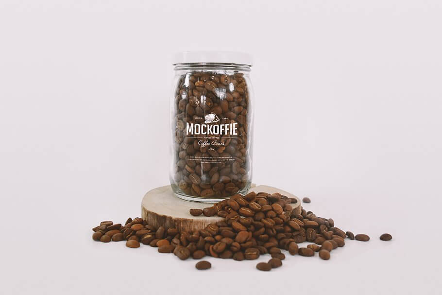 Glass Jar with Coffee Beans Mockup