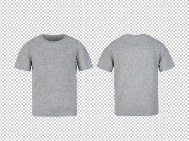 Grey kids t shirt front and back mockup Premium Psd