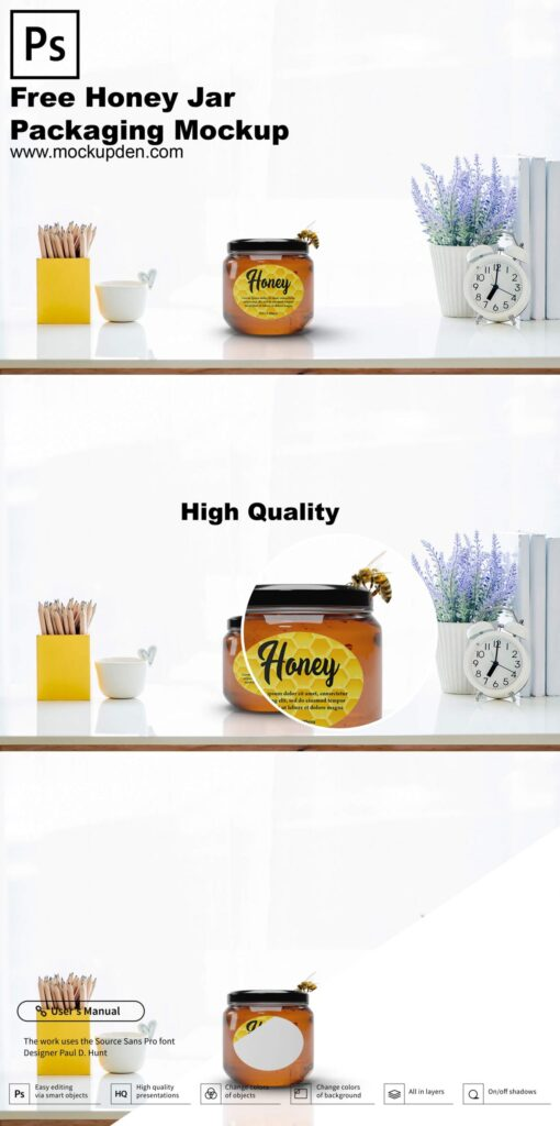 Free Honey Jar Packaging Mockup PSD Template