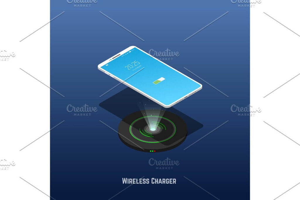 Isometric phone and wireless charger