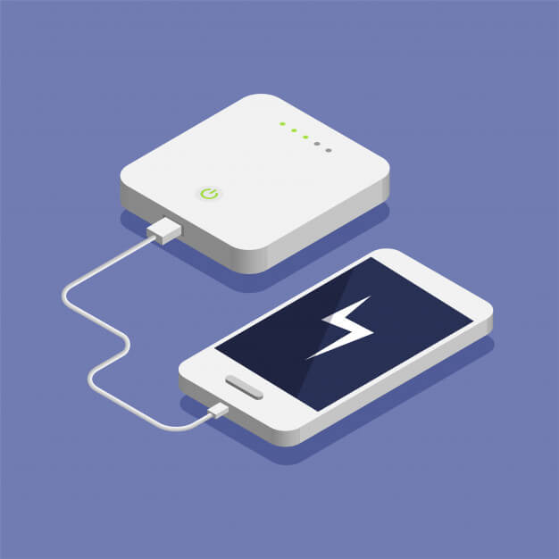 Low battery. isometric smartphone charging with external power bank. database storage device concept illustration. Premium Vector