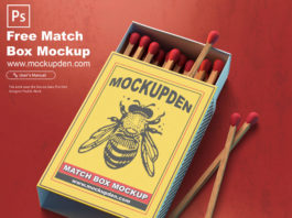 Free Match Box Mockup PSD Template