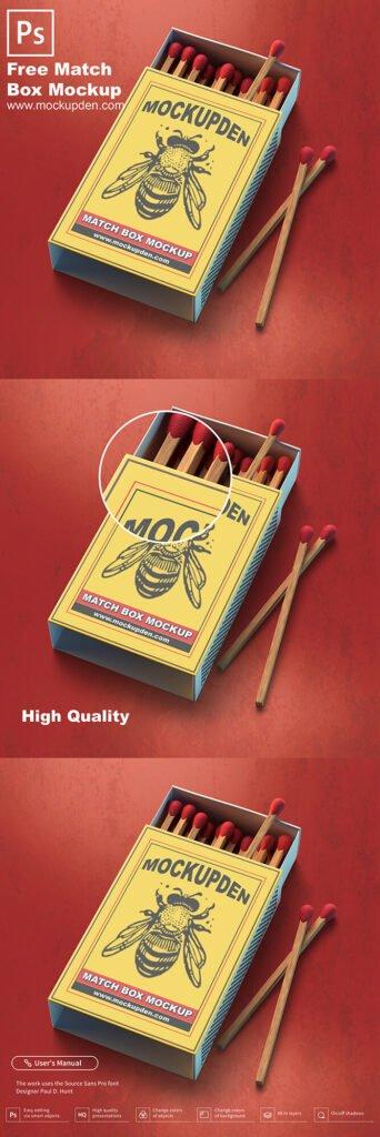 Free Match Box Mockup PSD Template