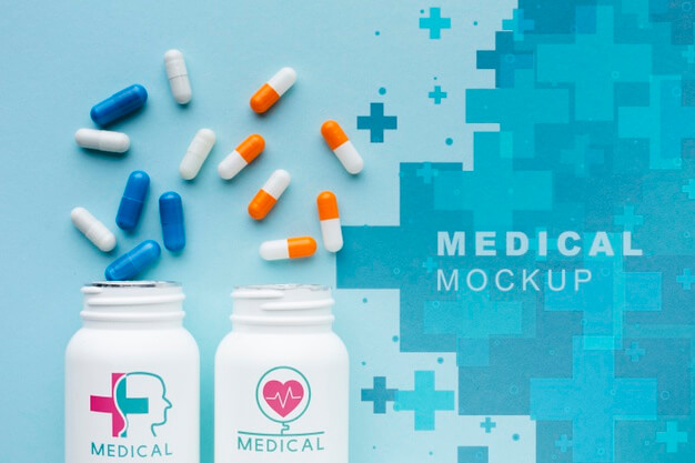 Medical capsules mock-up top view Free Psd