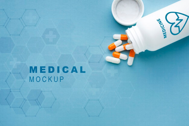 Medical mock-up with pills Free Psd