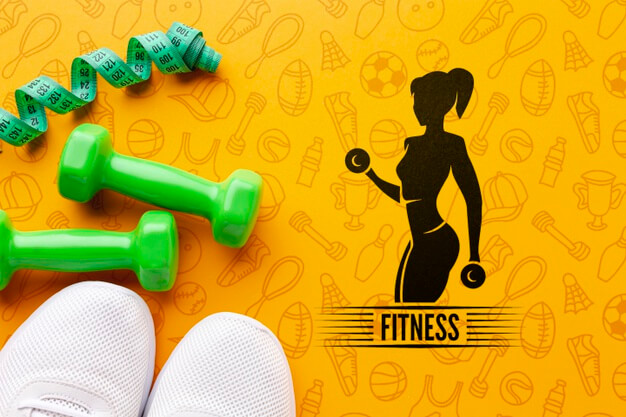 Mock-up fitness equipment and shoes Free Psd