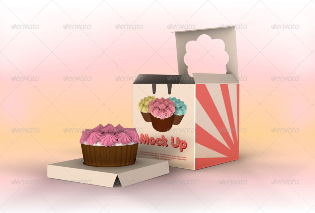 One Piece Cupcake Box Mockup