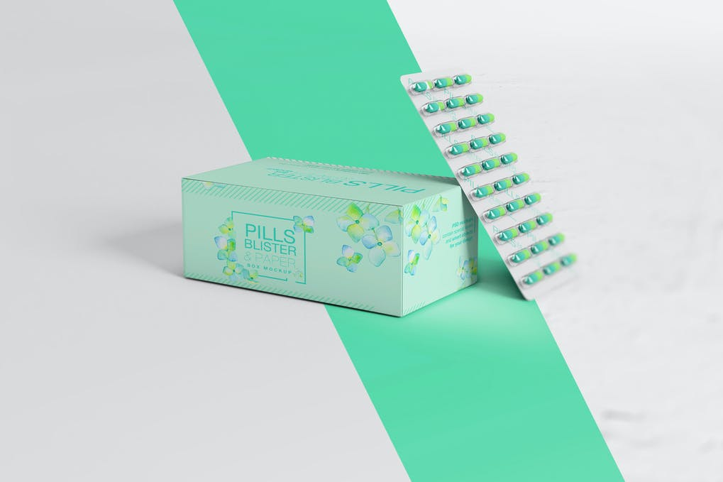 Pills Blister/ Paper Box Mockup