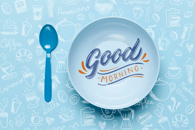 Plate with good morning message Free Psd