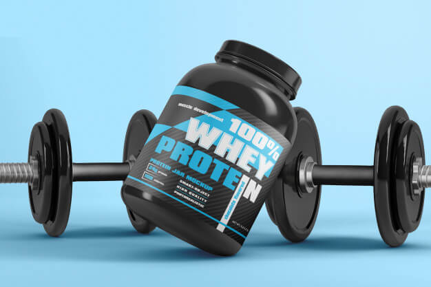 Protein powder supplement packaging with dumbbell mockup Premium Psd