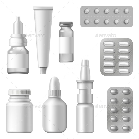 Realistic Medical Packages Pharmaceutical