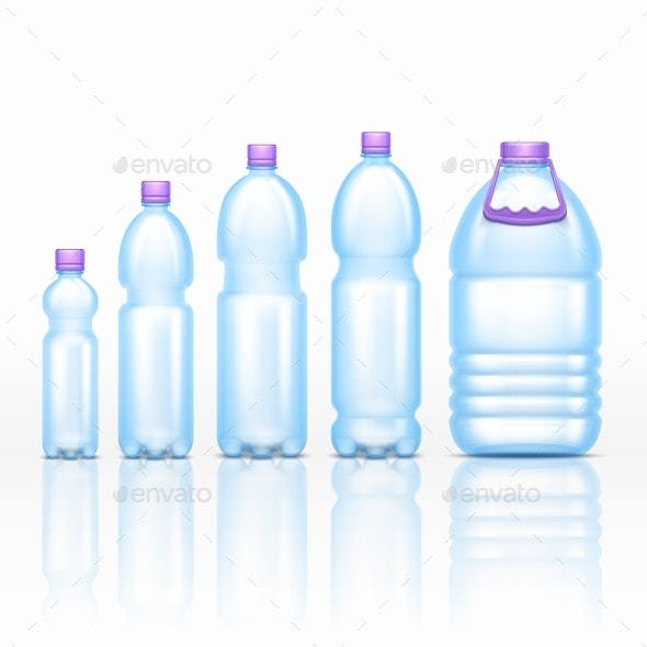Realistic Plastic Drink Bottles Mockups Isolated