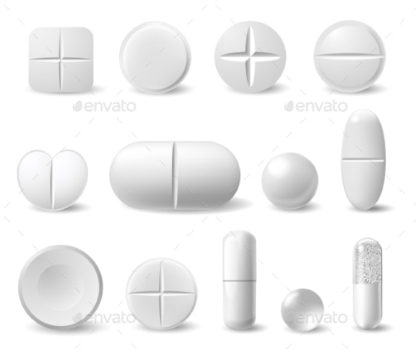 Realistic White Medicine Pills. Pharmaceutical