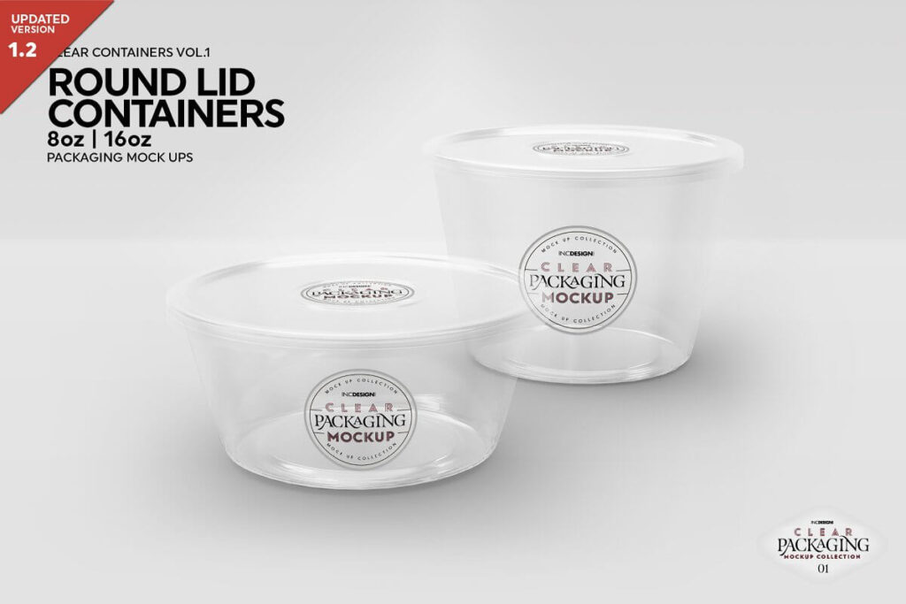 Round Lid Deli Containers Mockup