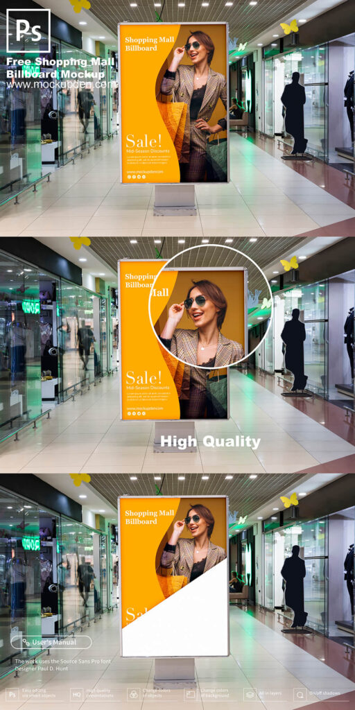 Free Shopping Mall Sign Board Mockup PSD Template